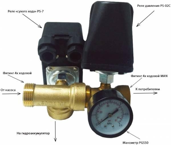 Регулировка гидроаккумулятора и реле давления