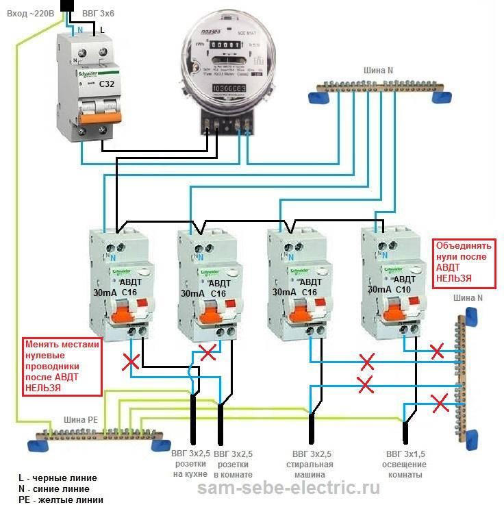 Схема подключения дифавтомата в однофазной сети