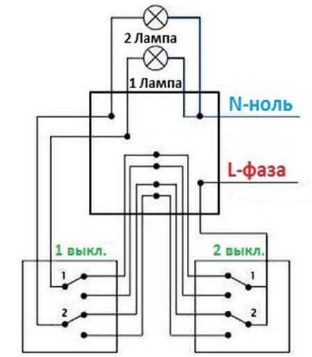Как соединить выключатель с лампочкой схема