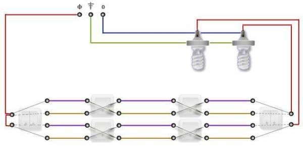 Как соединить проходные выключатели