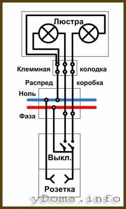 Подключить люстру с 3 проводами