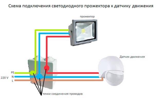 Схема подключения прожектора с датчиком движения