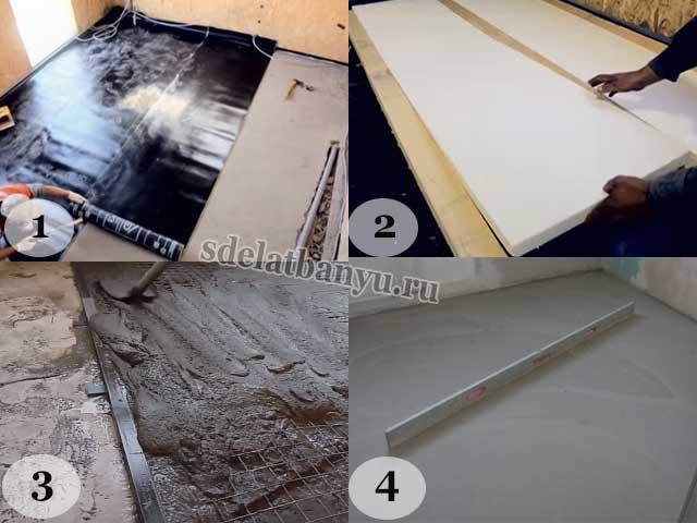 Утепление бетонного пола в бане