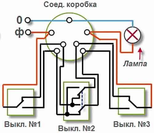 Проходной выключатель схема подключения на 4 точки