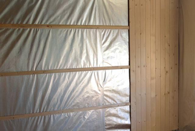Утепление стен сауны изнутри