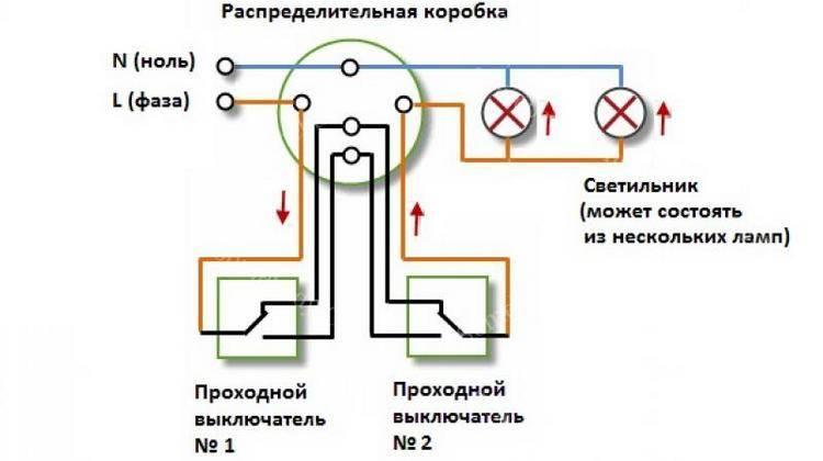 Схема включения проходного выключателя
