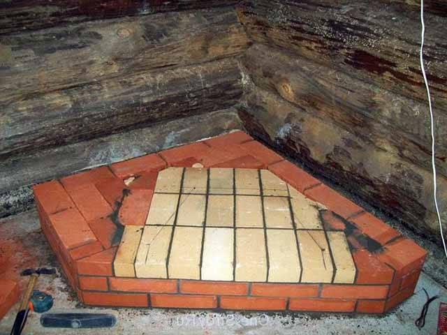 Угловая печь камин из кирпича