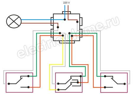 Проходной выключатель схема подключения на 2