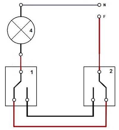 Принцип работы проходного выключателя