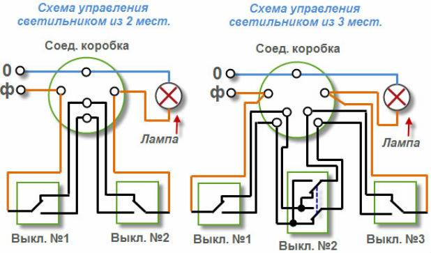 Подключение двойного проходного выключателя