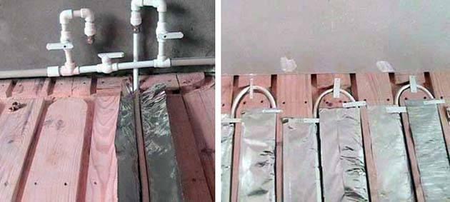 Тёплый пол водяной в деревянном доме