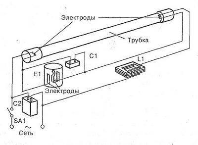 Схема подключения лампы дневного света