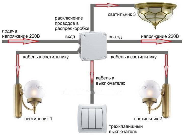 Как подключить тройной выключатель с розеткой