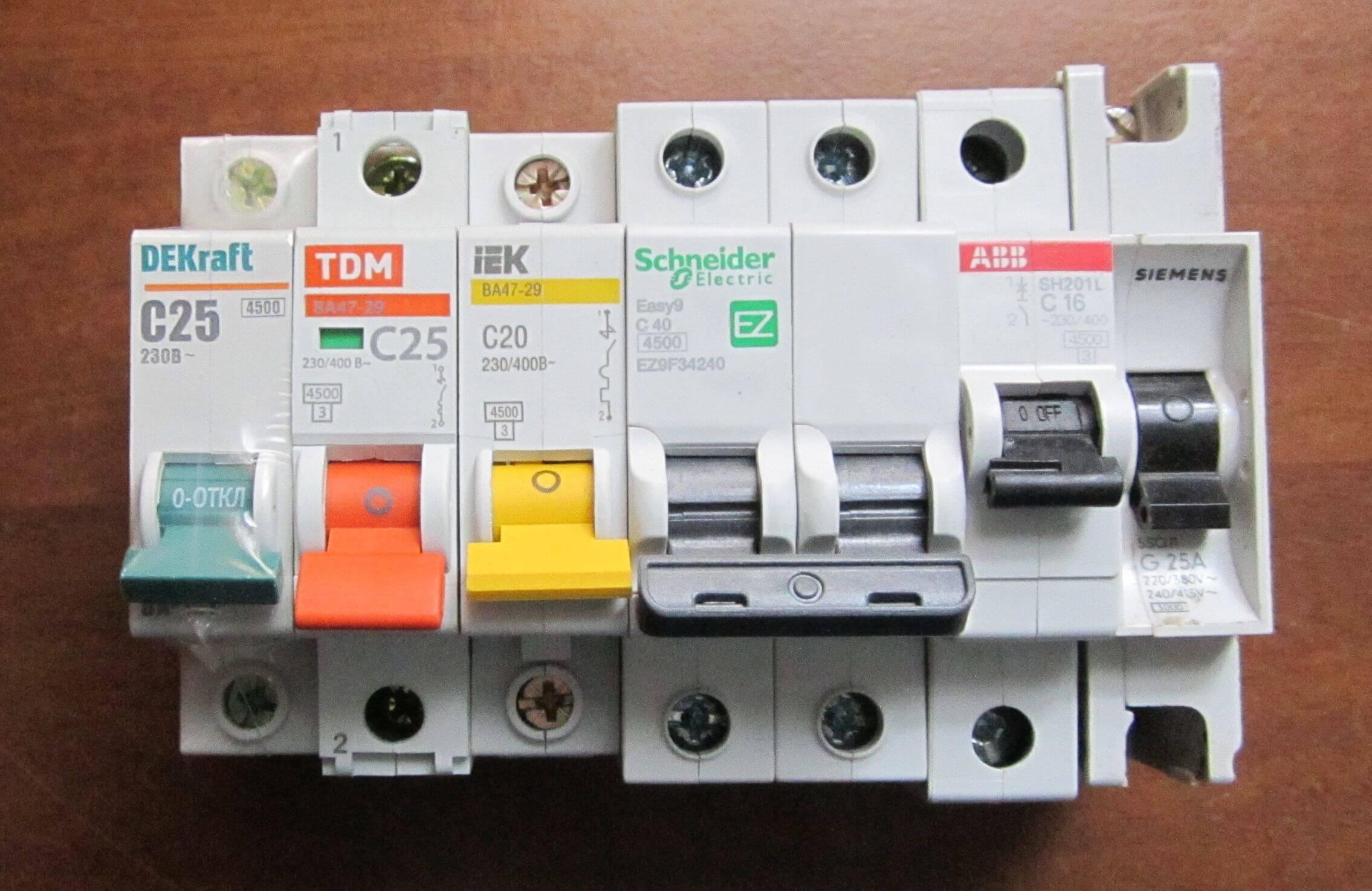 Выбор автоматического выключателя по мощности таблица