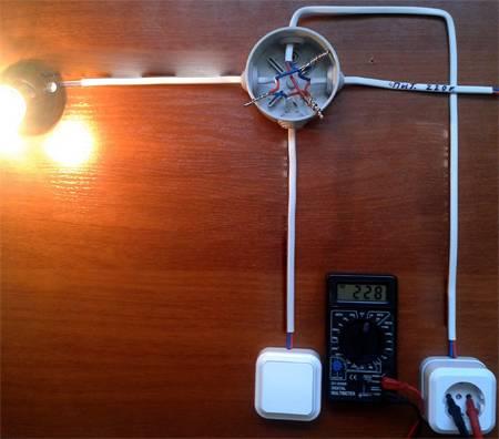 Схема подключения лампочка розетка выключатель