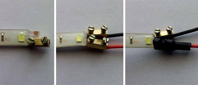 Как соединить светодиодную ленту с блоком питания