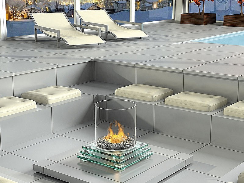 Камин со стеклом